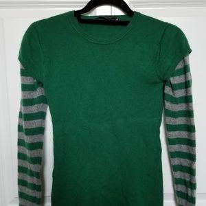 BCBG Max Azria Green Rhinestone Cashmere Sweater S